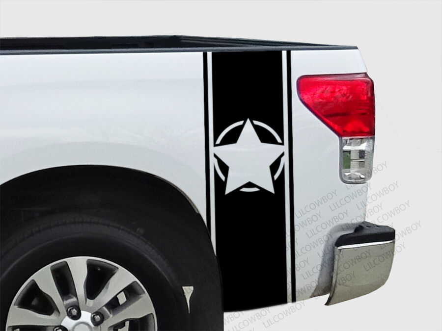Army Star Military Bed Side Stripes Vinyl Truck Decal