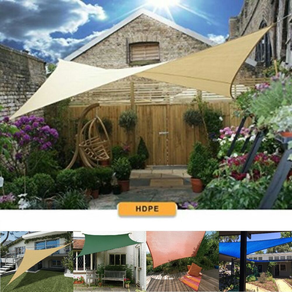Patio garden sun shade sail canopy awning sunscreen 98 uv for Sun shade structure
