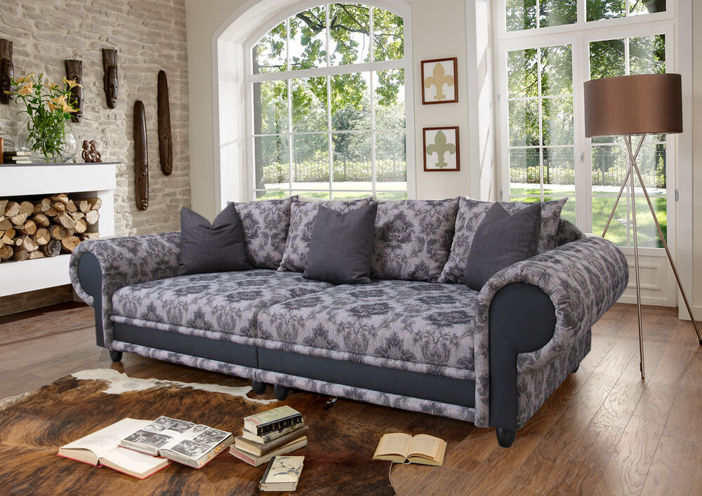 big sofa sissi kolonialstil xxl mega kolonialsofa federkern shabby chic ebay. Black Bedroom Furniture Sets. Home Design Ideas