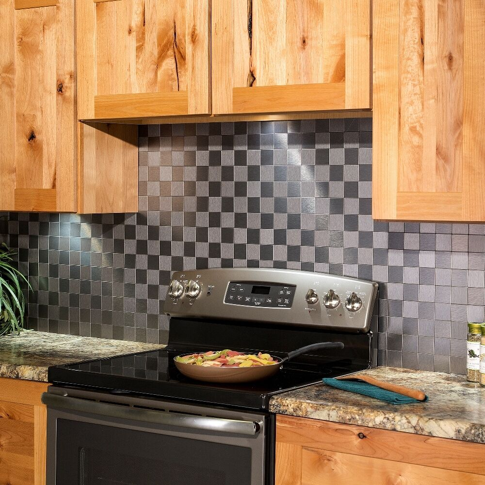 Self Stick Metal Backsplash Tiles Home Depot Metal Tile: Aspect Peel And Stick Backsplash Square Matted Metal Tile