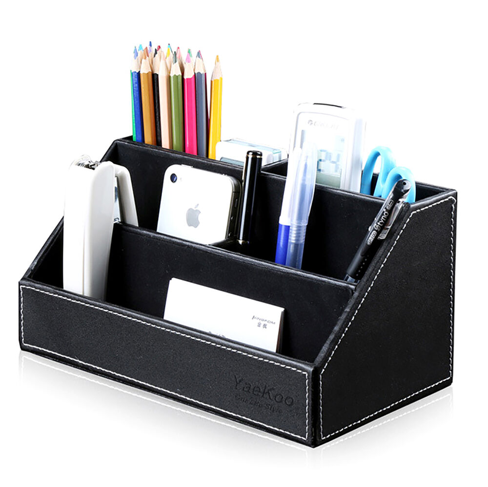 Home Office Desk Pu Leather Stationery Organizer Pens Pencils Holder Storage Box Ebay