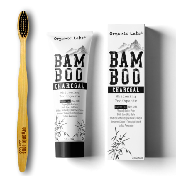 Bamboo Charcoal Teeth Whitening Toothpaste Black Removes Stains FREE Toothbrush