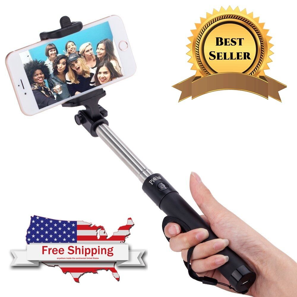 handheld selfie stick wired for iphone 6 plus 6s and samsung galaxy phone holder ebay. Black Bedroom Furniture Sets. Home Design Ideas