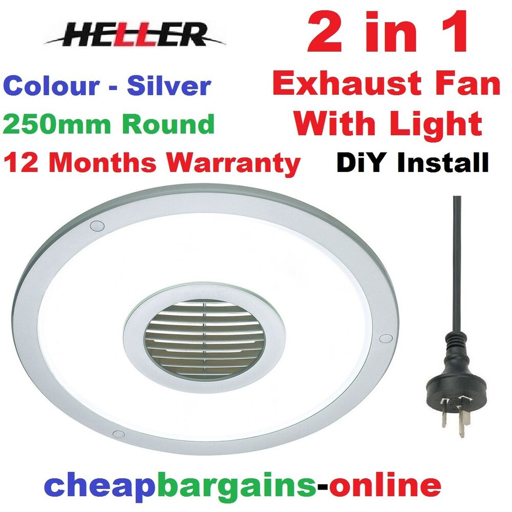 Kitchen Ceiling Exhaust Fan With Light: HELLER EXHAUST FAN WITH LIGHT 250mm ROUND SILVER BATHROOM