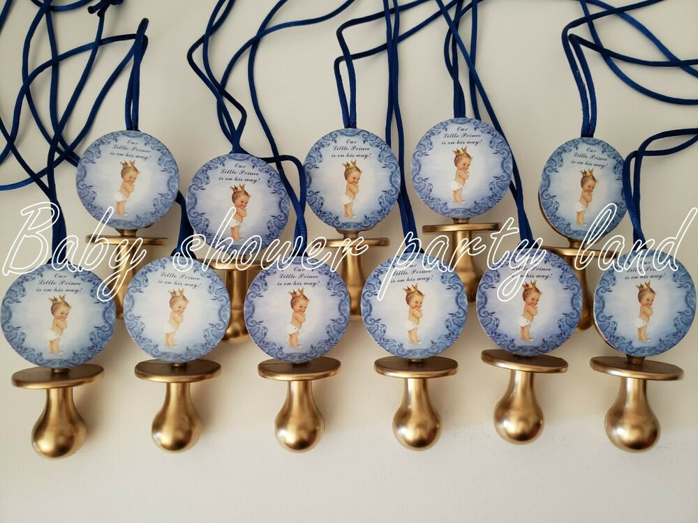 12 prince pacifier necklace its a boy baby shower favors