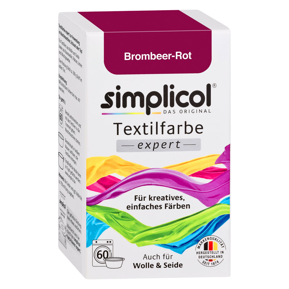 simplicol textilfarbe expert brombeer rot 150g farbe auch f r wolle seide ebay. Black Bedroom Furniture Sets. Home Design Ideas