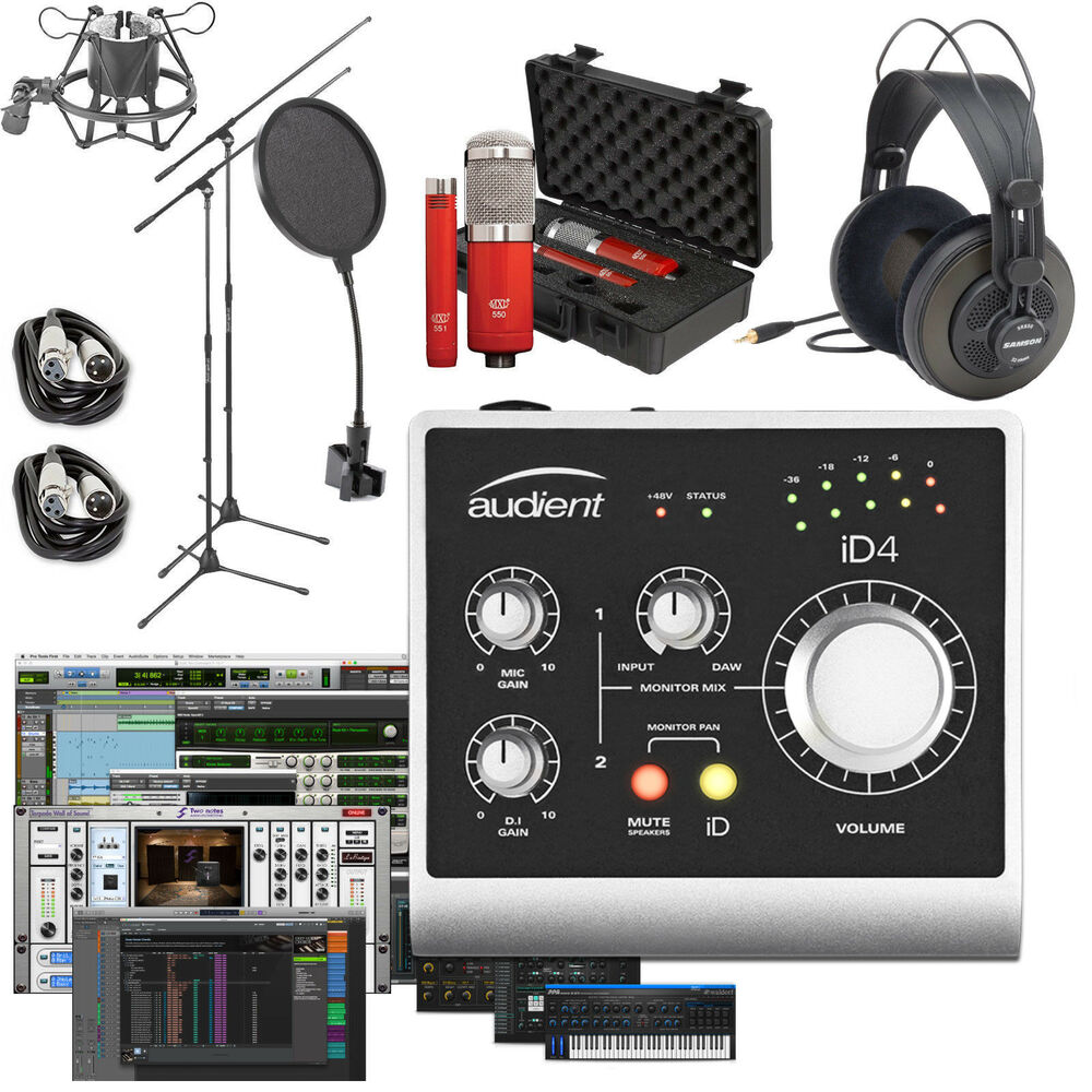 audient id4 home recording bundle studio package w pro tools first 888680890704 ebay. Black Bedroom Furniture Sets. Home Design Ideas