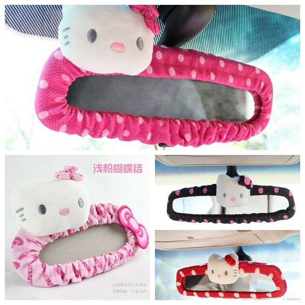 1pcs cute hello kitty bow car rear mirror cover cartoon car interior accessories ebay. Black Bedroom Furniture Sets. Home Design Ideas