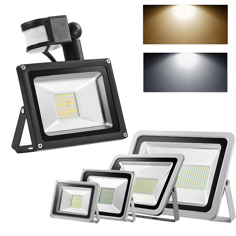 led floodlight pir 10 20 30 50 100w high power smd outdoor. Black Bedroom Furniture Sets. Home Design Ideas