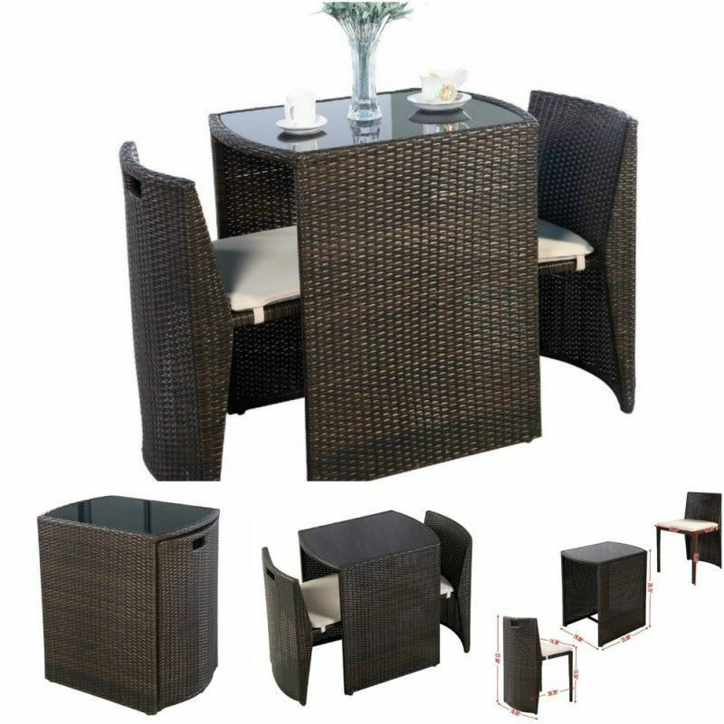 bistro table and chairs set patio outdoor indoor bar dining garden stools small ebay. Black Bedroom Furniture Sets. Home Design Ideas