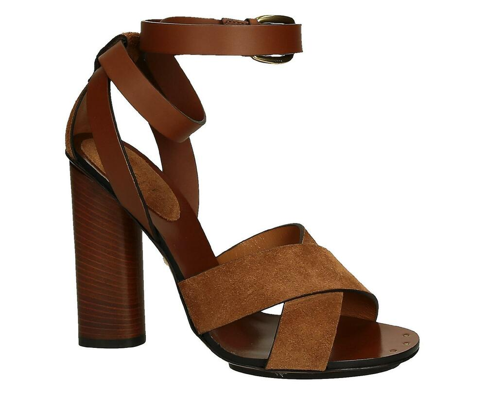 1ff40dc11dbf Details about Original Gucci Candy tan suede and leather high heel sandals  39½