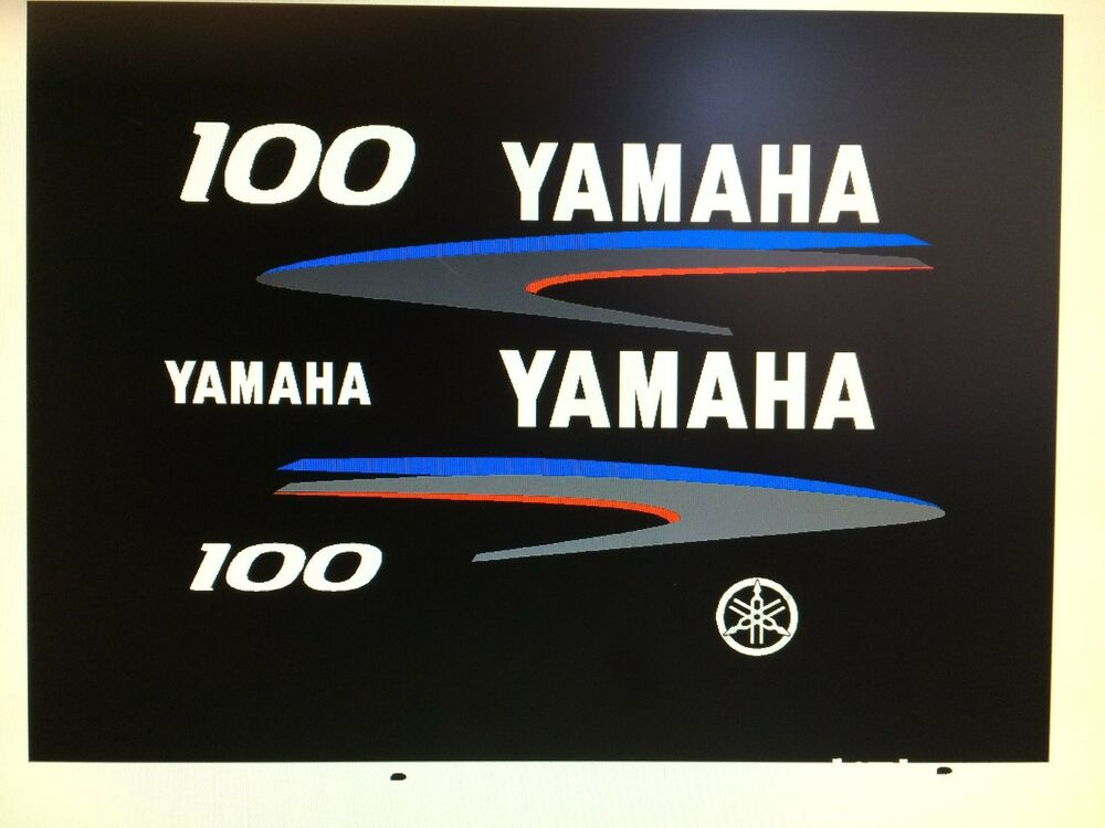 Yamaha 100 hp outboard 2 stroke decal sticker kit marine for Yamaha 100 hp outboard for sale