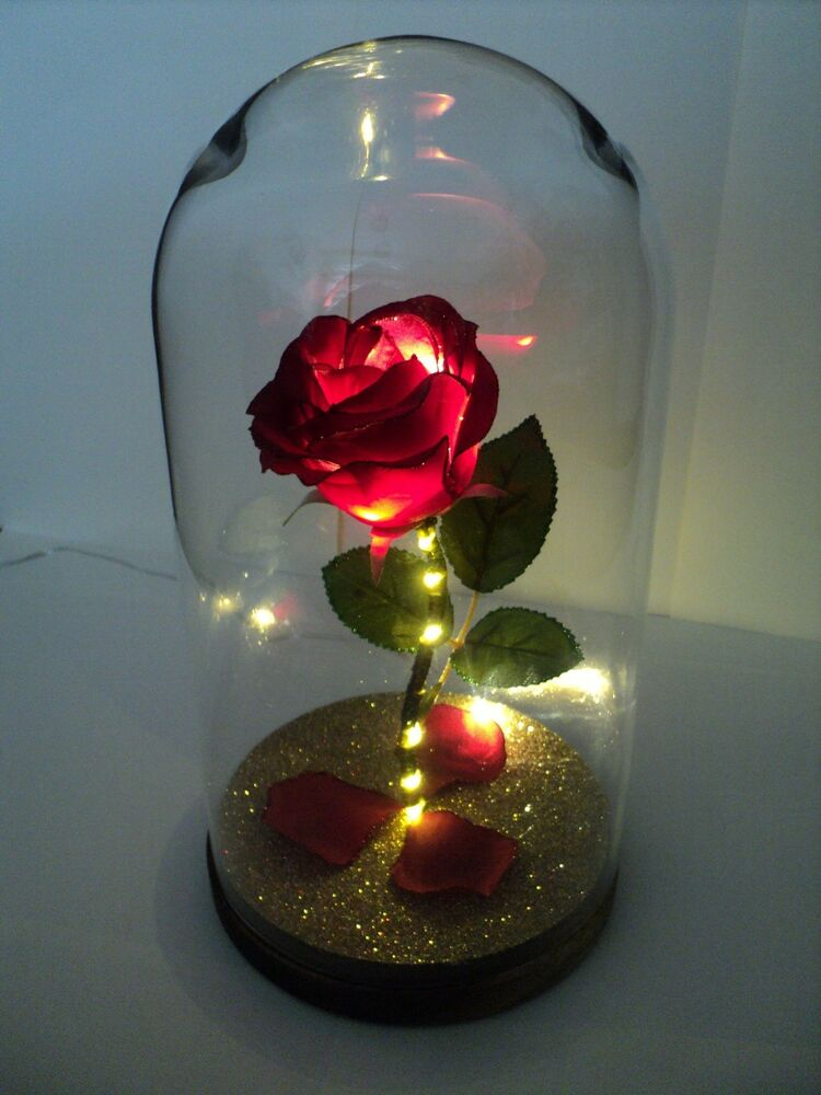 beauty and the beast inspired light up enchanted rose in glass dome centrepiece 605175190602 ebay. Black Bedroom Furniture Sets. Home Design Ideas