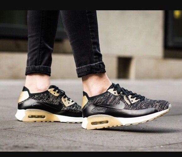 huge discount 026ee 61449 Athletic Shoes Clothing, Shoes   Accessories Size 9 NIKE Women AIR MAX 90  ULTRA 2.0 FLYKNIT 881563 001 Black Gold White