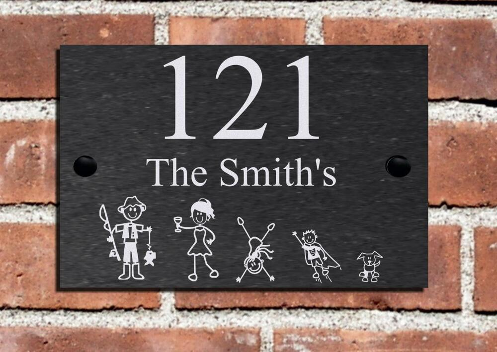 House Number Plaques Slate: New Stick Family Slate House Name Plaque Door Number Sign