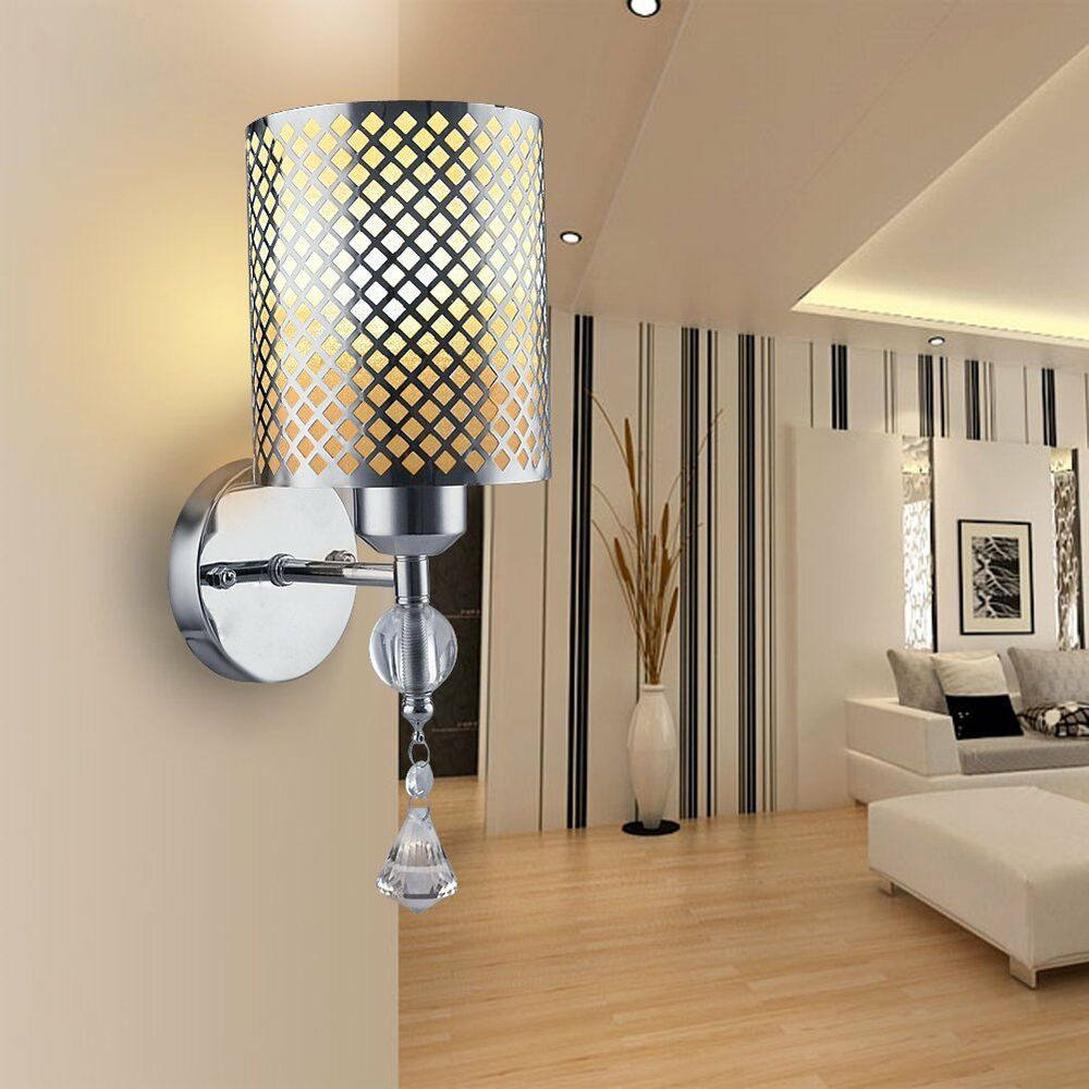 Details about modern silver indoor wall lights sconce lamp lighting fixtures fittings bedside