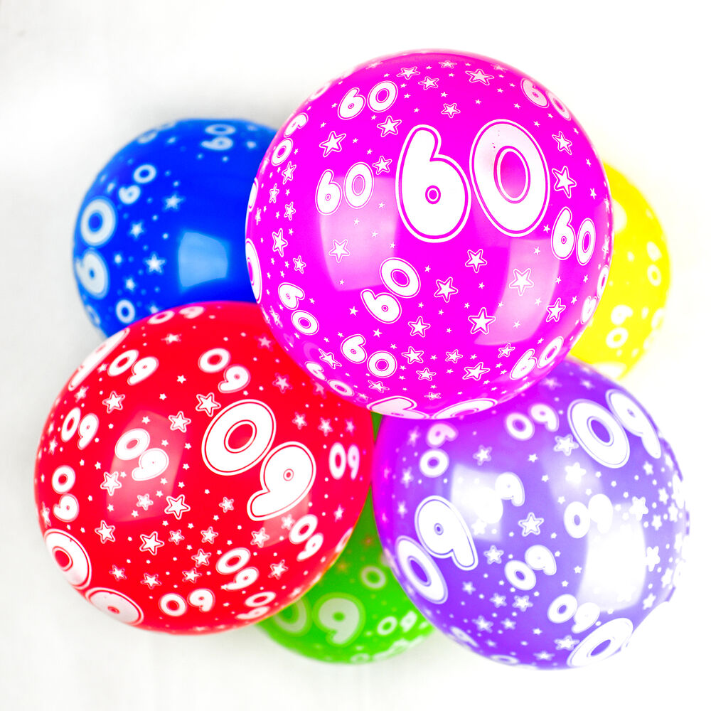 Details About 60th Birthday Balloons With Printed Numbers Party Latex Quality