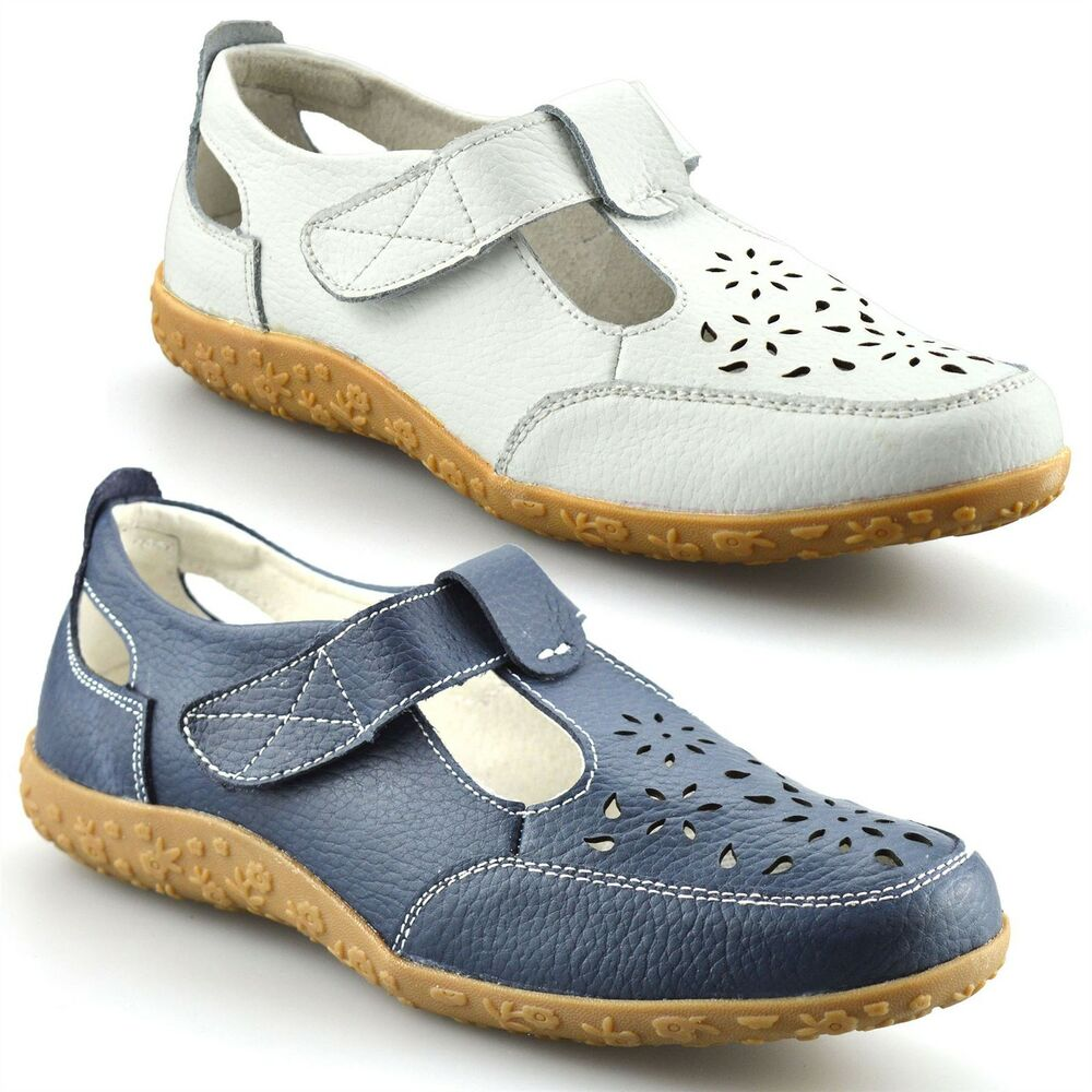 Ladies Womens Casual Flat Leather Wide Fit Comfort Walking ...