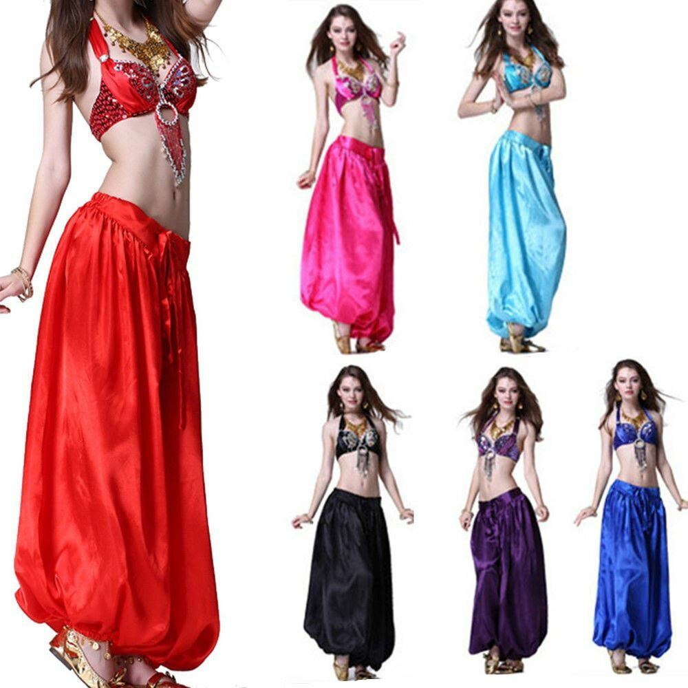 92e89ad438c9 Belly Dance Sequin Bra Top BH Satin Harem Pants Trousers Outfit ...
