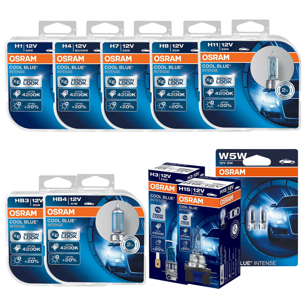 osram cool blue intense car bulbs h1 h4 h7 h11 h15 h16. Black Bedroom Furniture Sets. Home Design Ideas