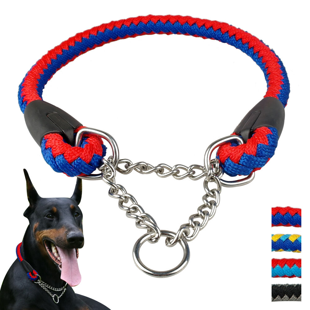 martingale dog collar rope braided pet half choke training collar for large dogs | ebay