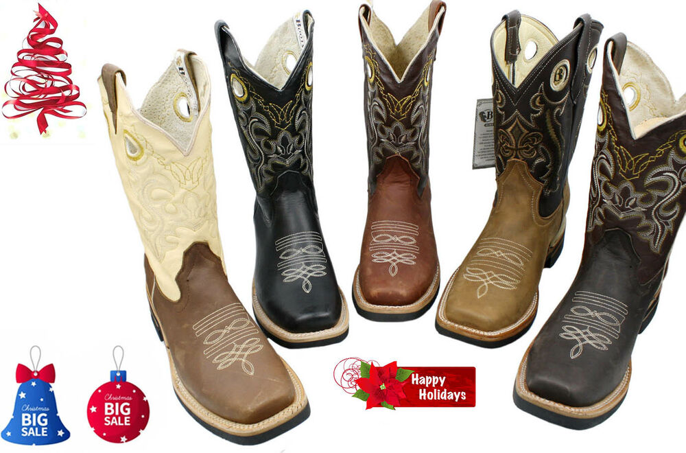 Men S Rodeo Cowboy Boots Genuine Leather Western Square