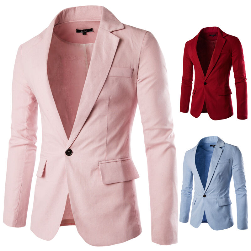 7a62f28928 Details about Wedding Casual Blazer Men Fashion Slim Fit Jacket Suit Coat  One Button Linen A21