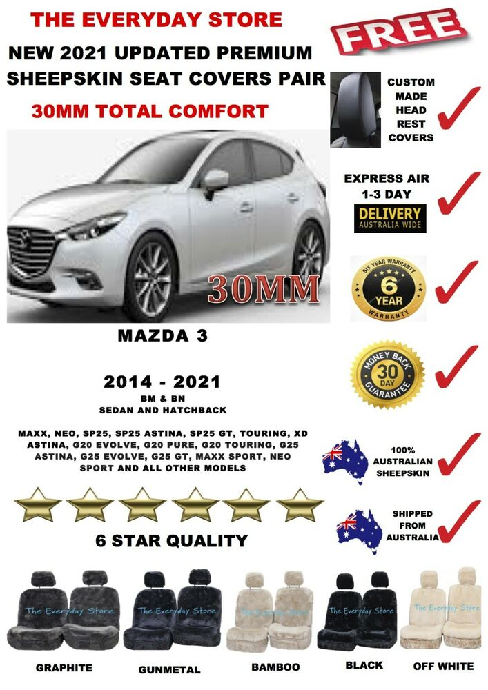 Mazda 3 BN/BM 2014-2018 Premium Sheepskin Seat Covers Pair Airbag ...