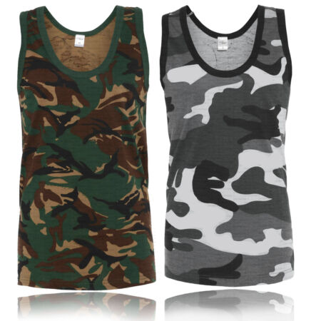 img-MENS DESERT JUNGLE CAMOUFLAGE CAMO SLEEVELESS VEST TOP GREEN GREY BROWN S - 5XL