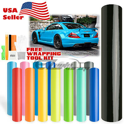 Gloss Glossy Vinyl Wrap Car Auto Vehicle Sticker Decal Film Air Bubble Free