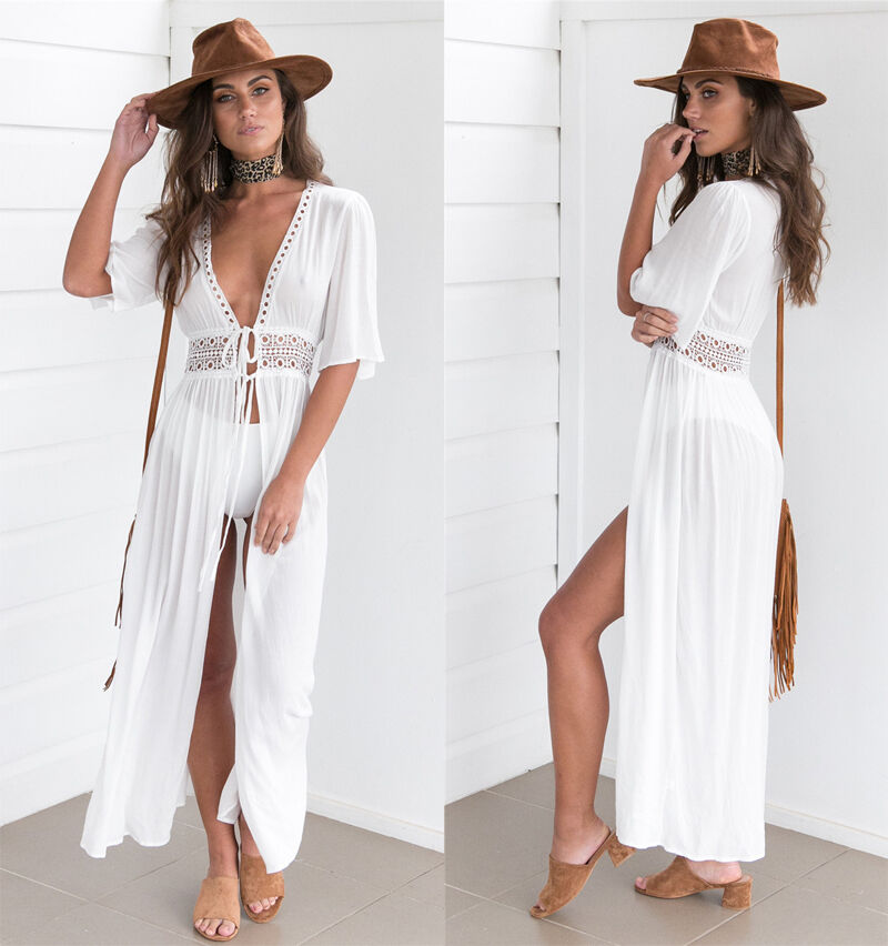 91e64468d28cd Details about New Womens Boho Long Kaftan Maxi Dress Bandage Bikini Cover Up  Party Beach Dress