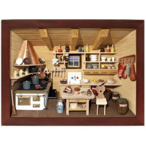 Kitchen Diorama Made Of Cereal Box: German 3D Wooden Shadow Box Picture Diorama Old Fashioned