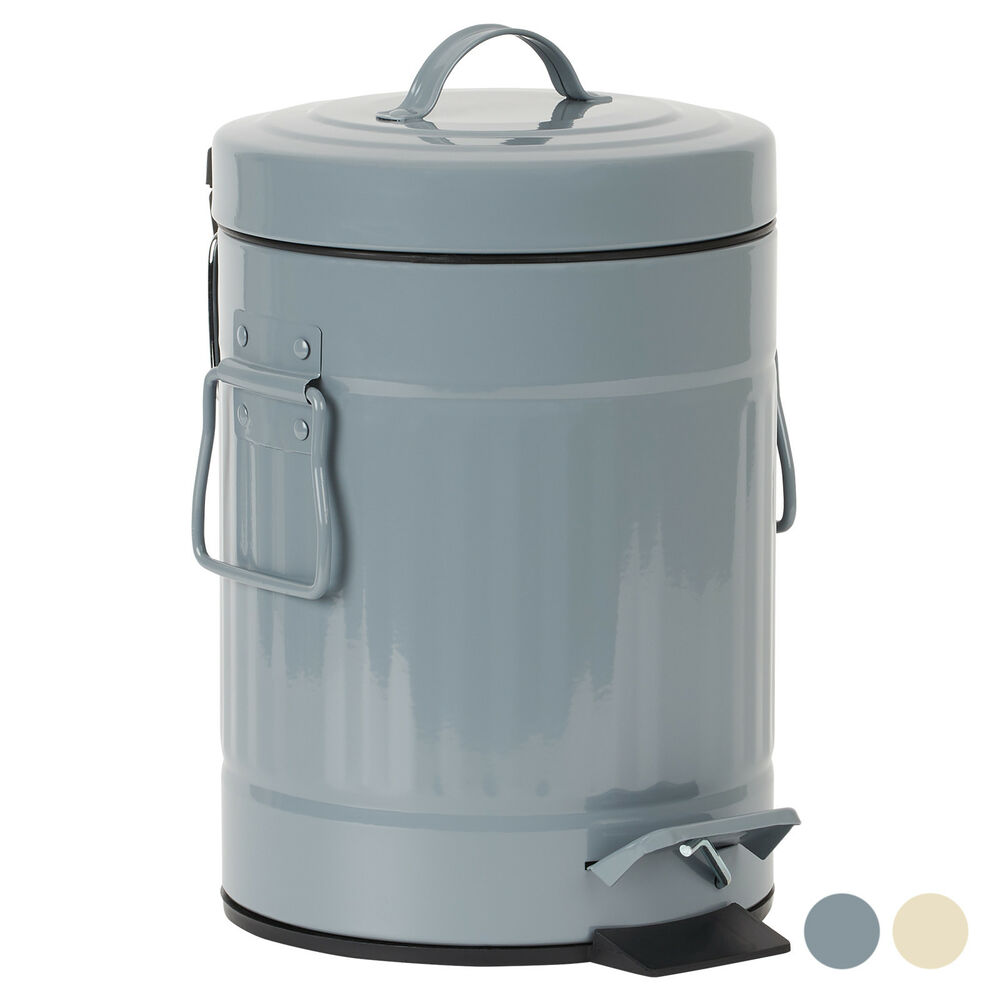 SMALL METAL PEDAL BIN RETRO DUSTBIN 3 LITRE BATHROOM