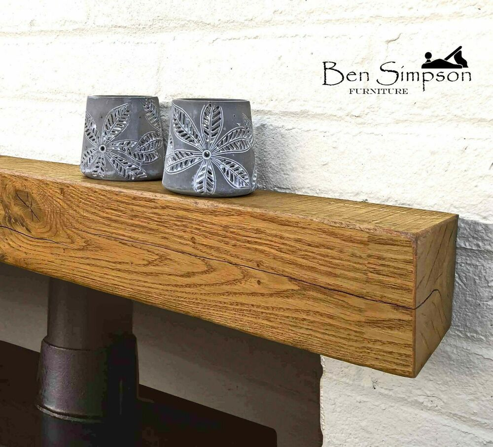 Rustic Oak Beam Mantel Solid Fireplace Surround