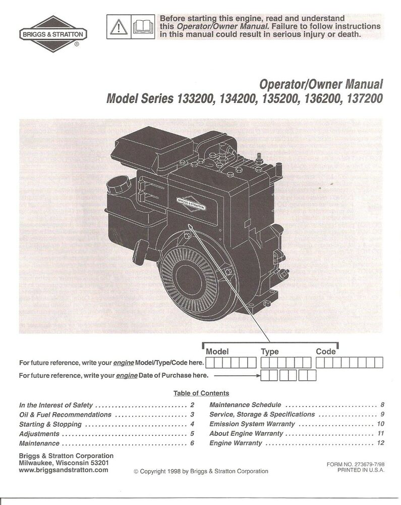 Briggs and Stratton Engine Owners Manual 133200 134200 135200 136200 137200  Orig | eBay