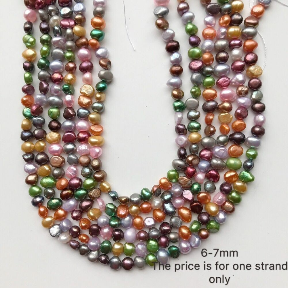 Real Freshwater Pearl Necklace Multi Color Full Strand Diy