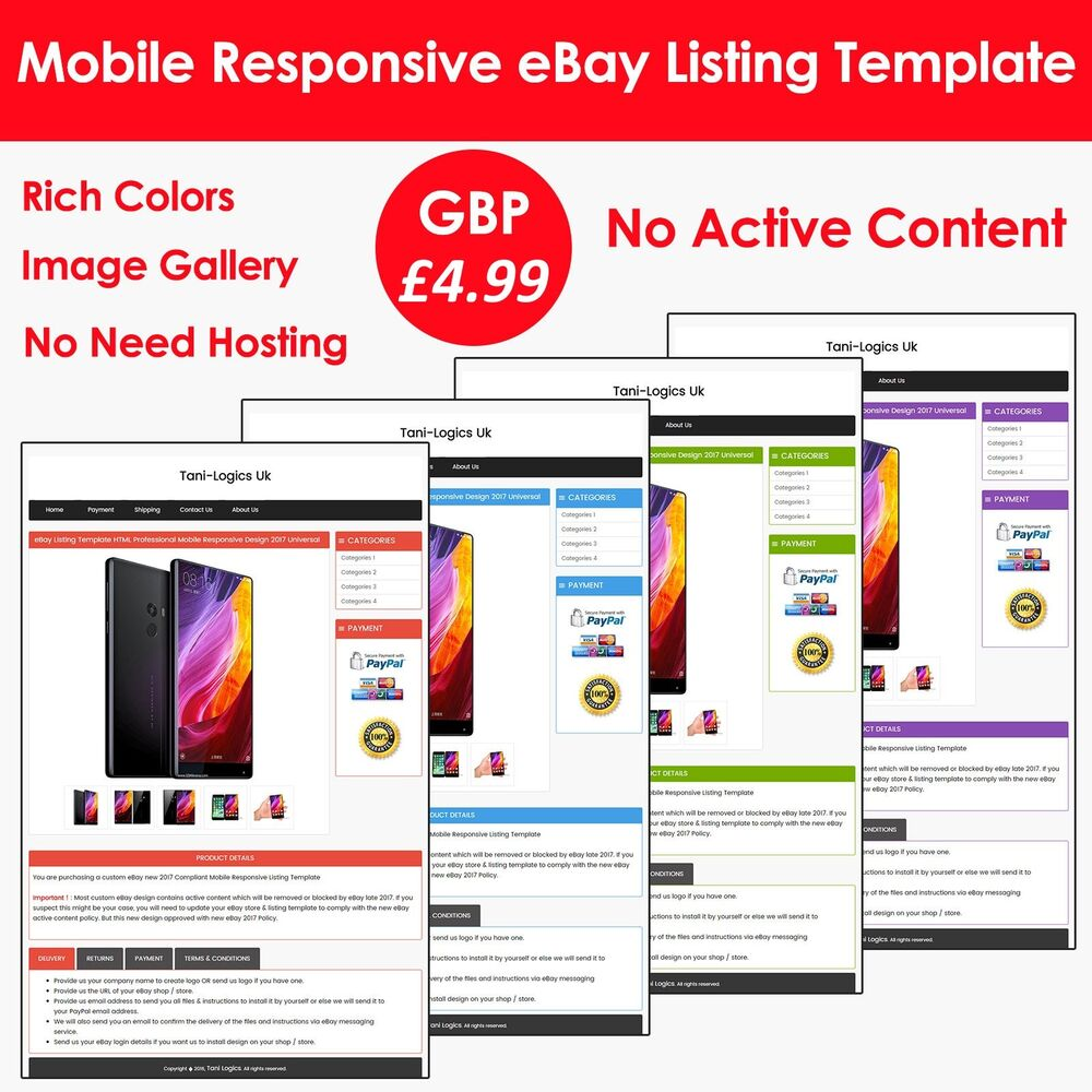 ebay listing template auction html professional mobile responsive design 2017 ebay. Black Bedroom Furniture Sets. Home Design Ideas