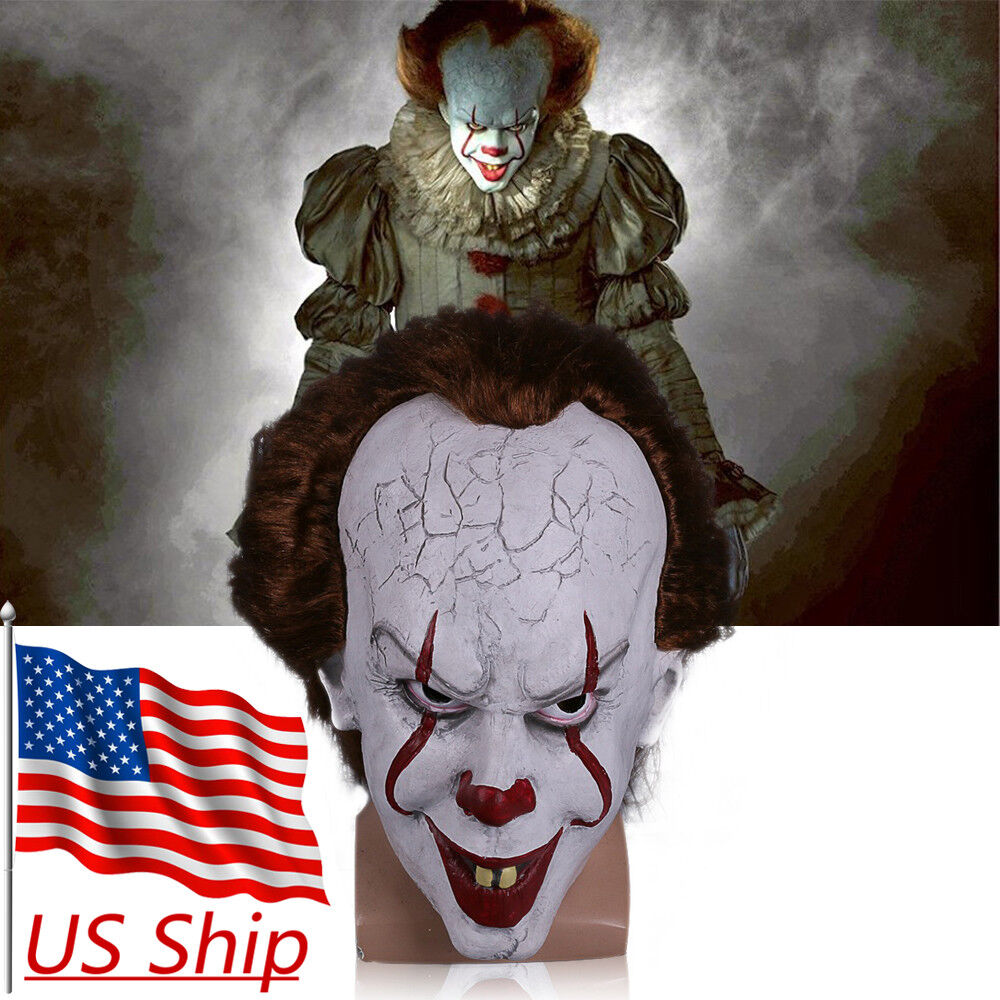 2017 Movie Stephen King's It Mask It Pennywise Clown Mask Scary ...