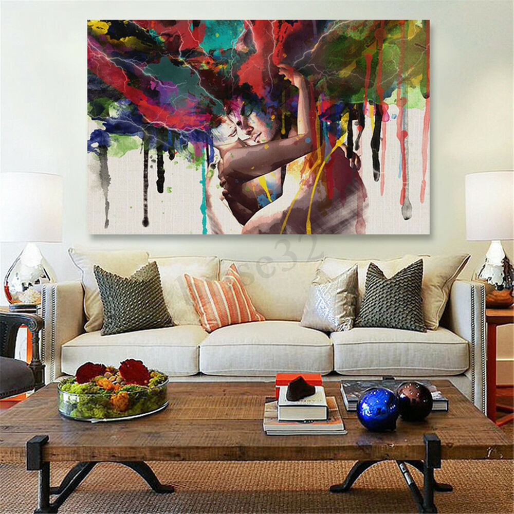 Newlywed Home Decor: 45x30cm Abstract Couple Canvas Painting Print Art Picture