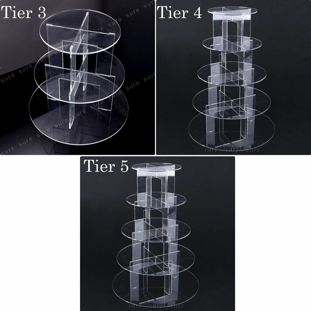 3 4 5 Tier Acrylic Cupcake Stand Toppers Tower Display