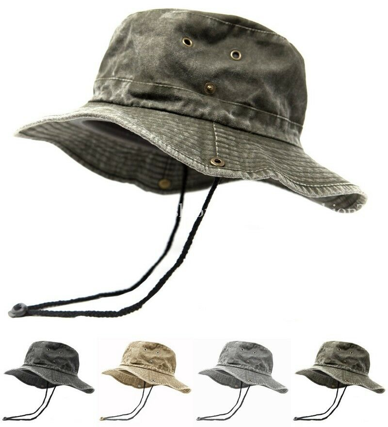 Details about Mens Wide Brim Cotton Visor Boonie Bucket Hat Outdoor Summer  Fishing Hiking 2e5aa094e89c
