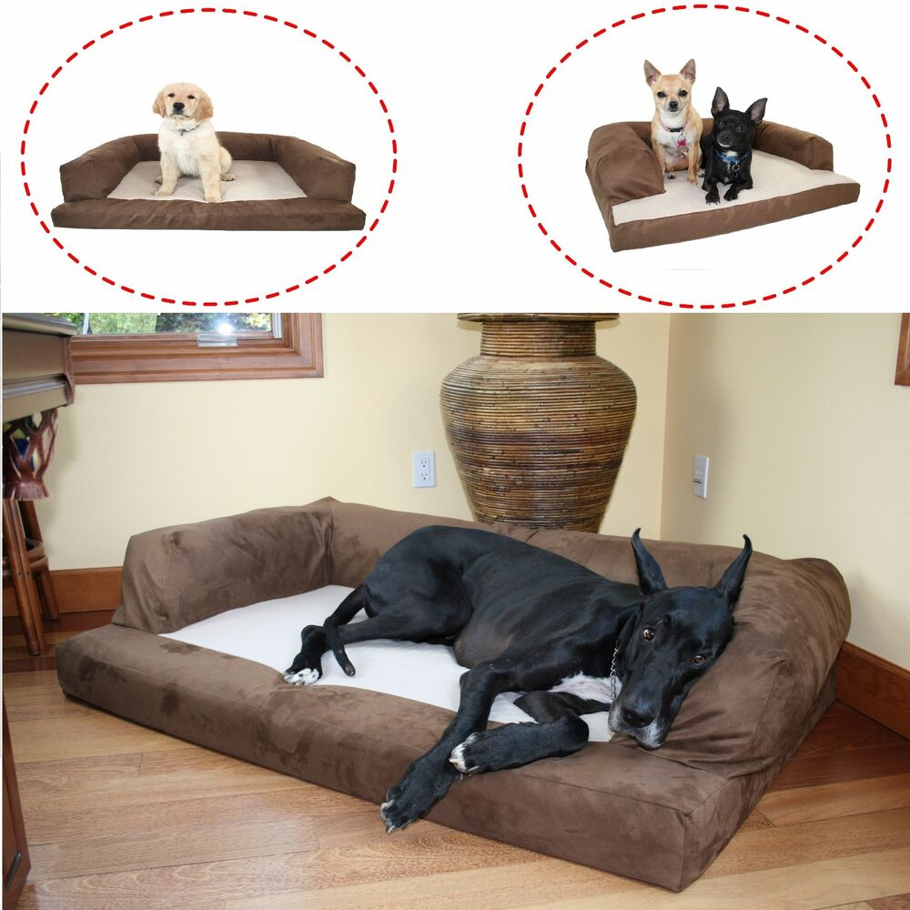 orthopedic foam extra large sofa style dog bed bolster pet sleep couch furniture ebay. Black Bedroom Furniture Sets. Home Design Ideas