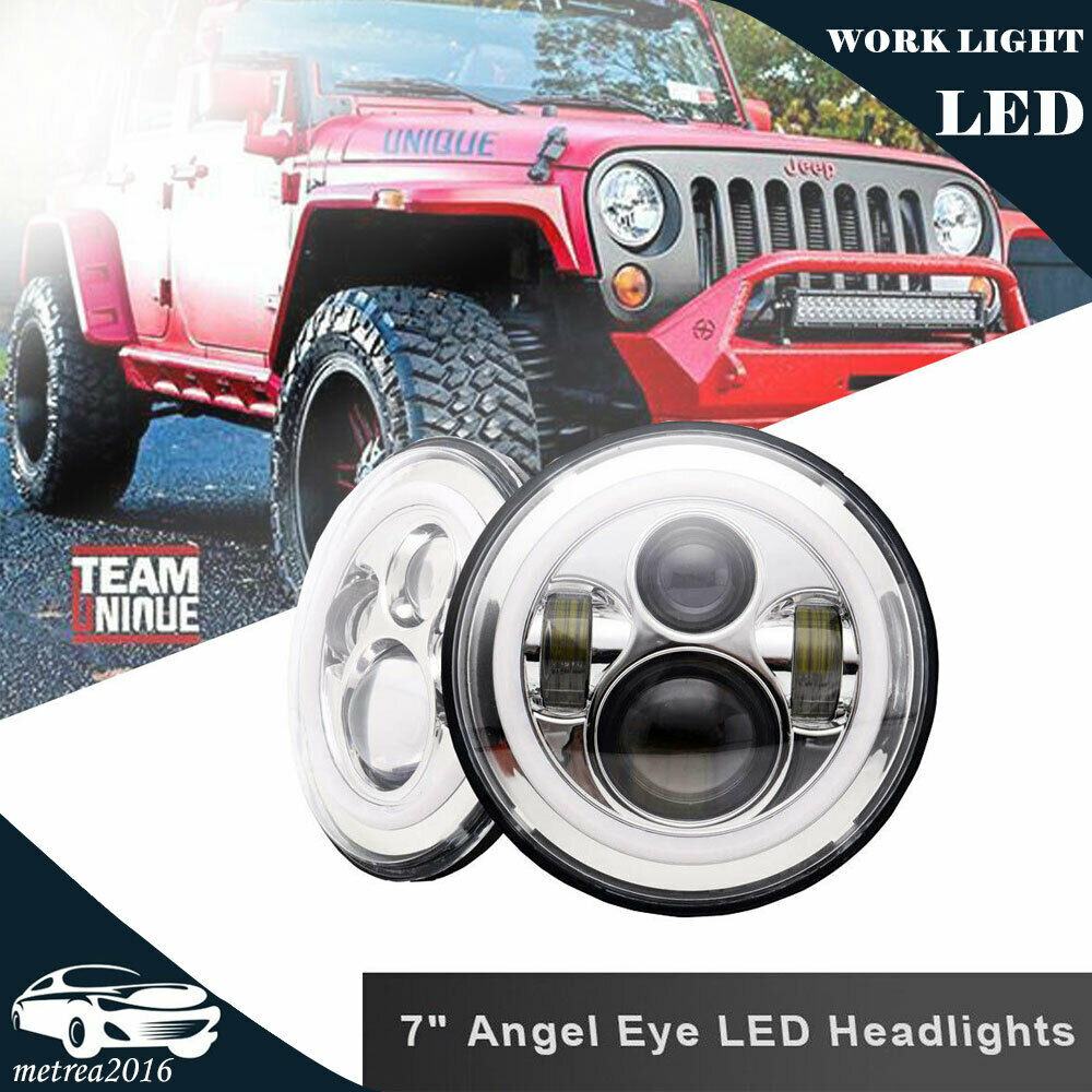 Classic Vw Beetle Engine Upgrades: 2PC 7Inch 120W Total LED Headlight Upgrade Lamp Hi/Lo Beam