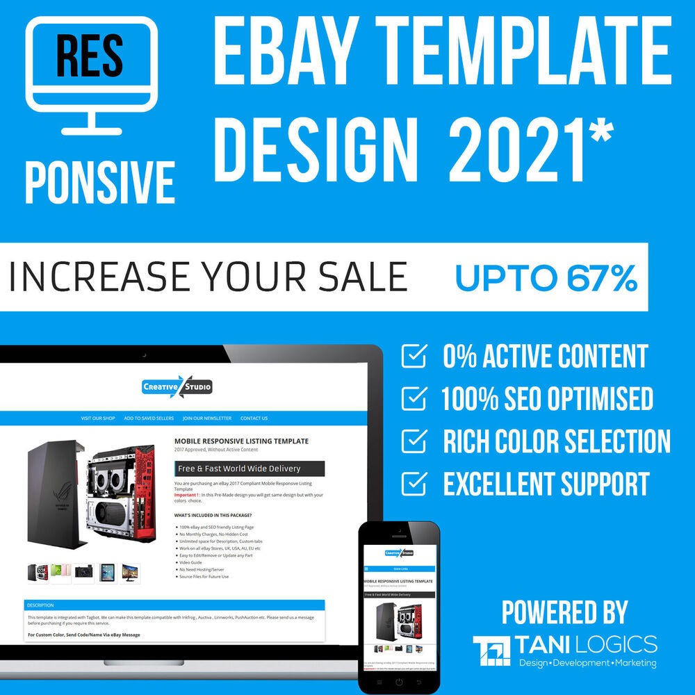 ebay mobile responsive template auction listing professional 2018 design html ebay. Black Bedroom Furniture Sets. Home Design Ideas