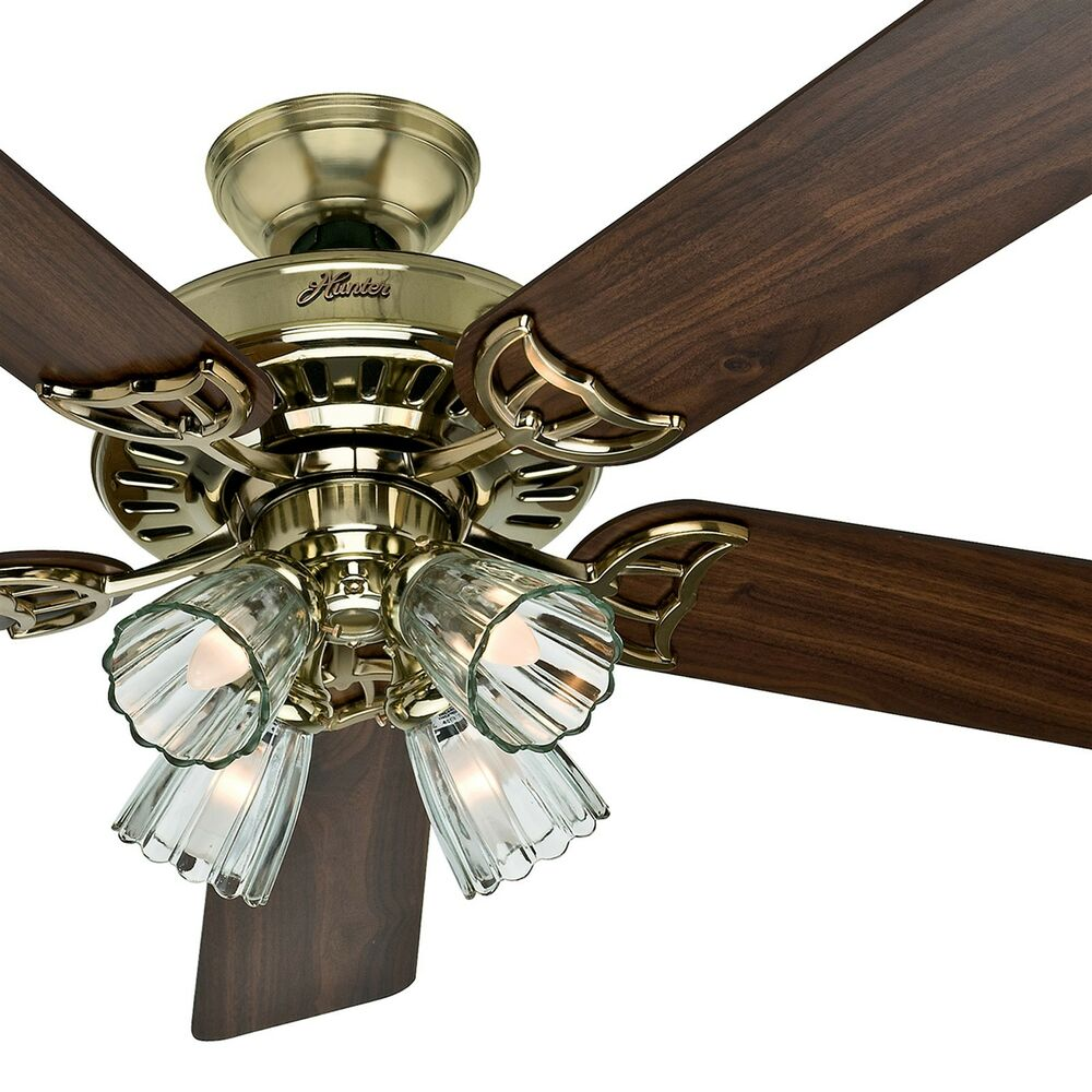 """Ceiling Fan With Bright Light: Hunter 52"""" Bright Brass Finish Ceiling Fan- Four-Light"""