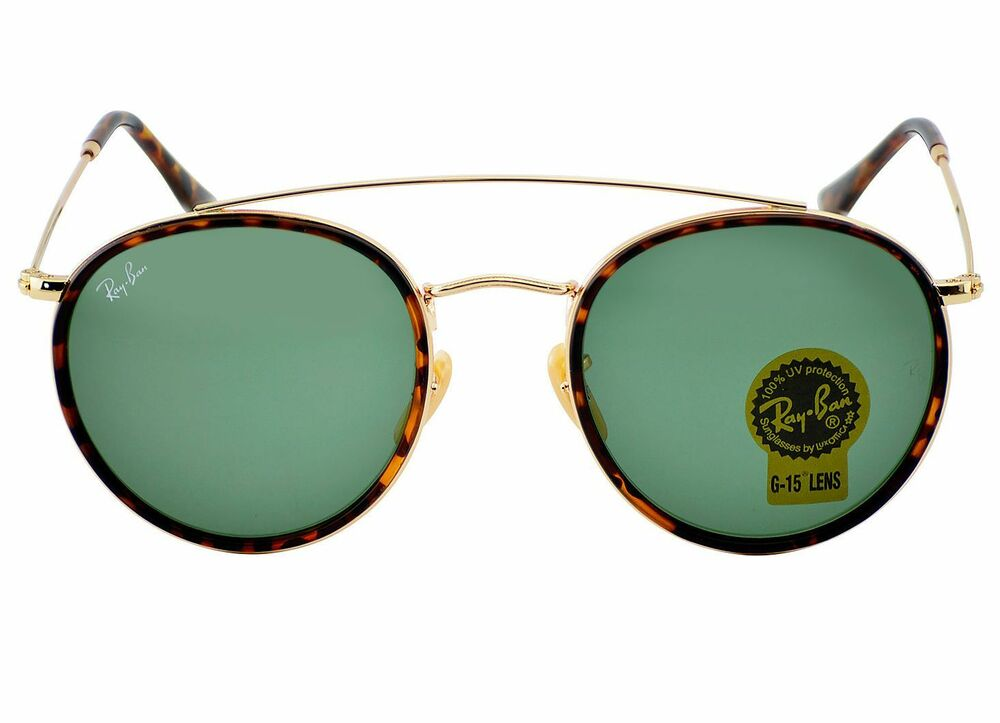 0a3b96b9b16 Details about RayBan RB3647N Round Double Bridge 001 Gold Frame Green  Classic G-15 Lenses 51mm