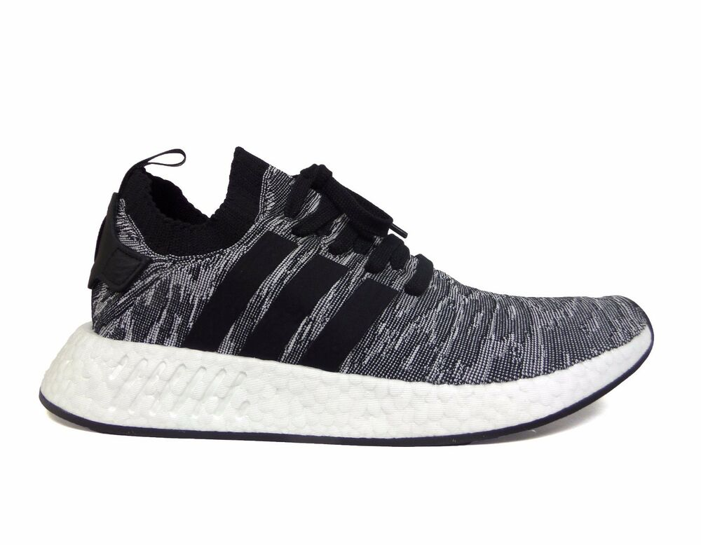 los angeles 99870 26b6e Details about Adidas Men s ORIGINALS NMD R2 PRIMEKNIT Running Shoes Core  Black White BY9409 b