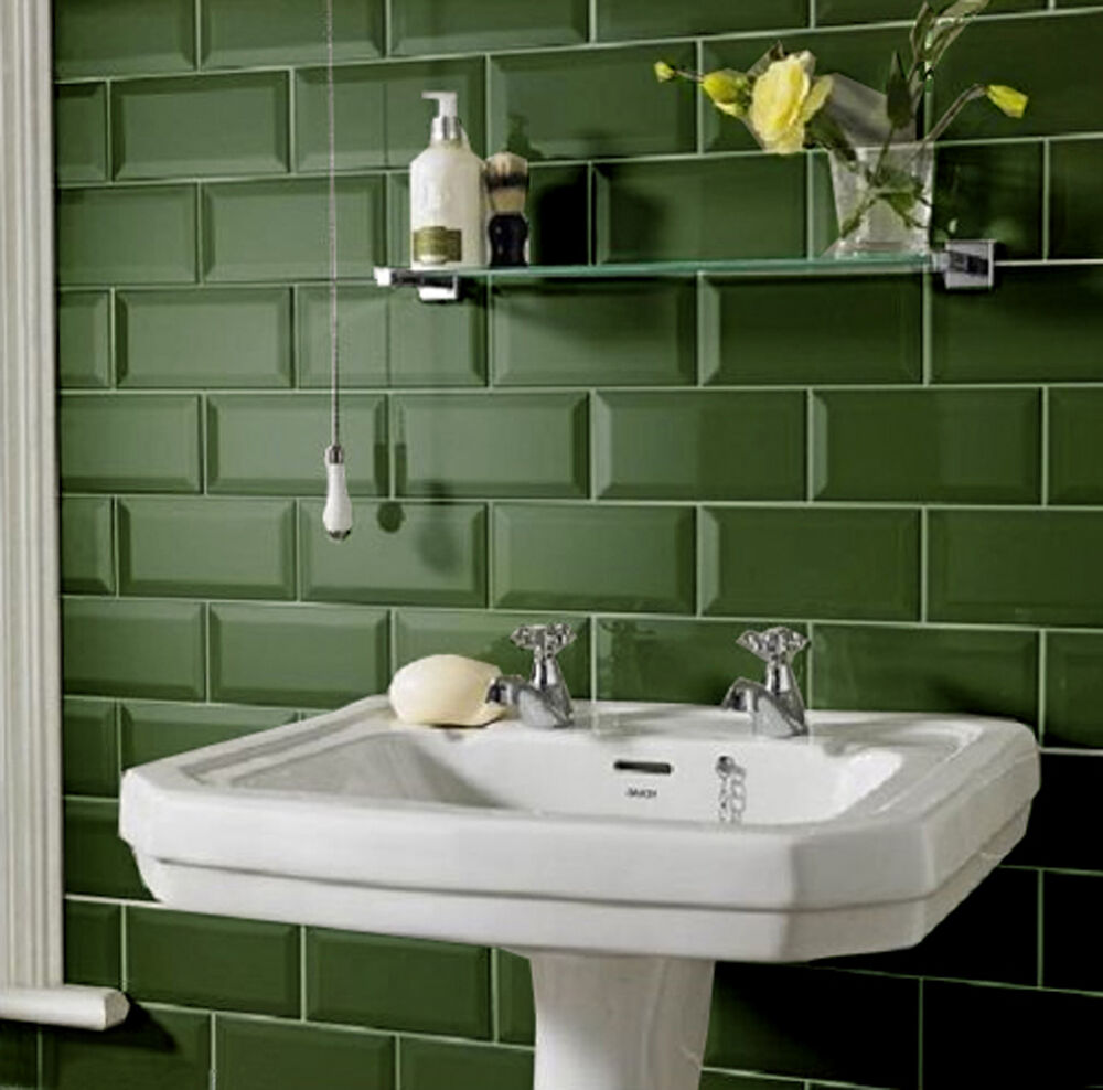 10x10cm sample of 20x10 metro dark green gloss bevelled edge tile ebay. Black Bedroom Furniture Sets. Home Design Ideas