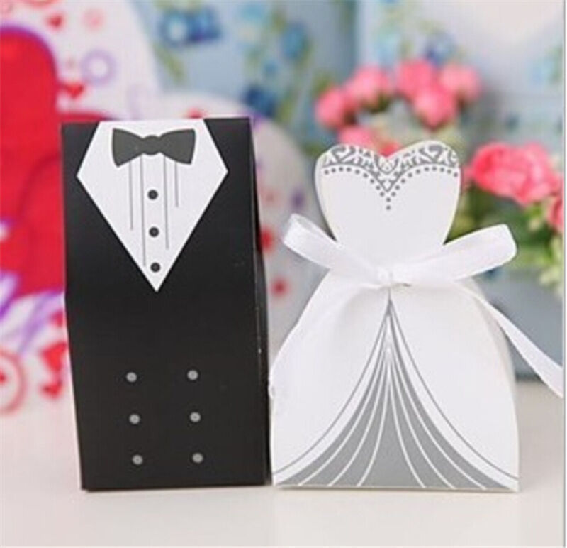 20pcs Bride Groom Dress Tuxedo Party Wedding Favor Ribbon Candy