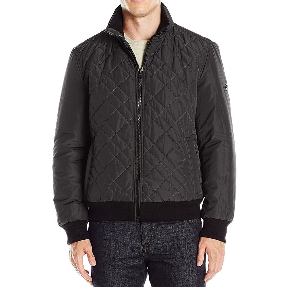 f9532b111 New Calvin Klein Mens Quilted Bomber Jacket Black CM608595 - Free Express  Melbrn | eBay